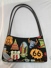NWT Route 66 Handbag Shoulder Bag Patterned States Funky with Rhinestones Motif