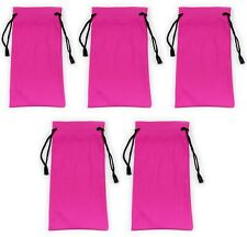 5 x Pink Glasses Sunglasses Pouch Case Drawstring Soft Bag Wallet Phone Reading