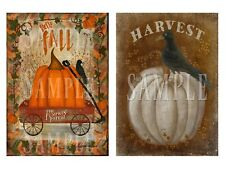 2 Primitive Autumn Hello Fall Pumpkin Red Wagon Crow Bittersweet Laser Print 5x7