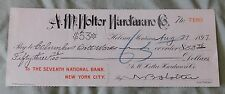 AM Holter hardware Check Helena Montana 1897 Seventh National Bank New York City