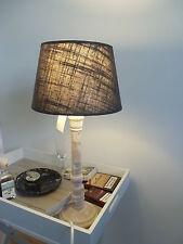 TISCHLAMPE 41cm STOFF LAMPENSCHIRM RUND taupe + HOLZFUSS shabby E27 40 Watt A++