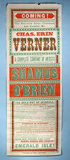 1890s Original Irish Stage Play Poster Shamus O'Brien Chas. Erin Verner Musical