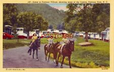 FONTANA VILLAGE, SOME OF THE CABINS AND CHILDREN ON HORSEBACK, FONTANA DAM, N.C.