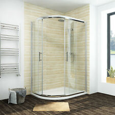 Offset Walk In Quadrant Shower Enclosure Corner Cubicle 6mm Glass Doors w/ Tray