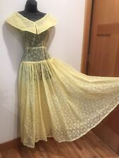 New listing 1950's Vtg Yellow Flocked Pears & Dots Fabric Evening Party Dress Circle Skirt