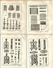 Stampa antica SCACCHI DAMA BRIC BRAC 5 TAV. Encyclopedie 1785 Antique print
