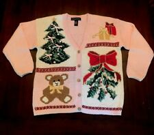 Ugly Christmas Sweater By Gladys Bagley Size Large W/ Christmas Scenes