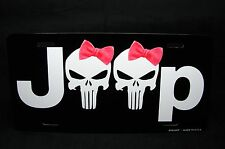 JEEP AND THE PUNISHER SKULL WITH PINK BOW METAL LICENSE PLATE TAG FOR CARS