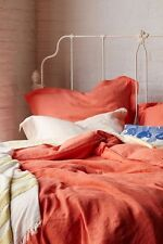 *perfect gift* Anthropologie SOFT - WASHED LINEN Queen Duvet Cover Coral NWT