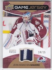 JEAN-SEBASTIEN GIGUERE 2012-13 UPPER DECK 1 GAME JERSEY PATCH #14/15 COLORADO