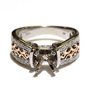 14k white rose gold .48ct diamond semi-mount art deco engagement ring 6.2g 6