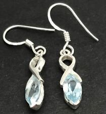 Sky Blue topaz Gemstone marquise drop Earrings, Solid sterling silver, New.