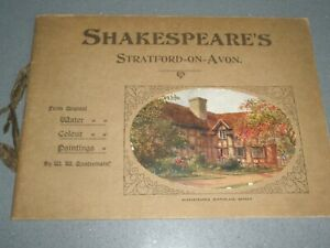 VINTAGE BOOK OF SHAKESPEARE'S STRATFORD-ON-AVON WATER COLOUR PAINTINGS