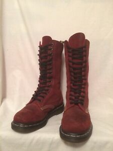 RARE GENUINE DR MARTENS MADE IN ENGLAND 1914 14 EYE RED SUEDE BOOTS UK4 EU37 US6