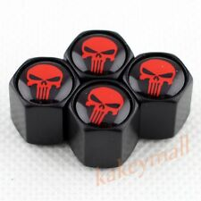 4X Red Punisher Badge Wheel Rims Tire Tyre Valve Air Dust Cap Cover Vehicle Part
