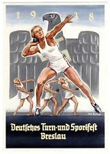 POSTCARD GERMAN 1938 BRESLAU SPORTS FESTIVAL SHOT PUT SIGNED HANS LISKA