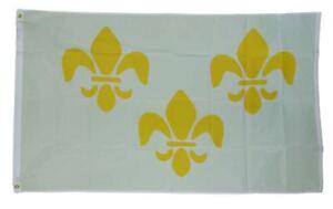 3x5 White 3 Fleur De Lis New Orleans French Flag 3'x5' House Banner