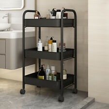 3Layers Storage Rack Movable Shelf With Wheel Bathroom Bedroom Kitchen Organizer