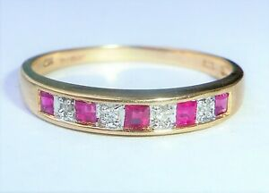 9ct Gold Princess Ruby & Diamond Half Eternity Ring, Size R1/2