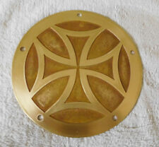 HARLEY TWIN CAM DERBY COVER -ALL Brass  iron cross etched deep -matte'
