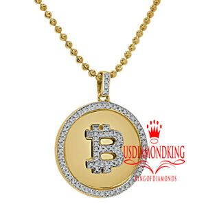 Genuine Diamond Bitcoin Logo Money Currency 10K Gold Finish Pendent Charm +Chain