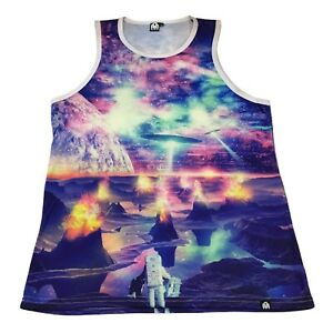 INTO THE AM Alien Space Tech Graphic Tank Top L