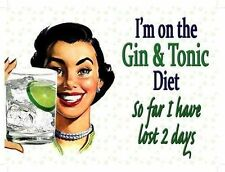 Gin & Tonic Diet Retro 50's Girl Funny Gift Classic Drink Novelty Fridge Magnet