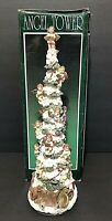 "VTG. Kirkland's Cedar Creek Angel Tower cherub topper ceramic Christmas Tree 15"""