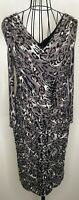 Ladies Gina Bacconi Grey Black Animal Print Bandage Ruched  Bodycon Dress UK 12