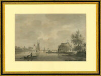 Framed Early 19th Century Watercolour - Boats in a River Landscape