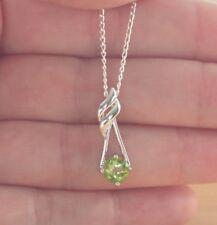 """925 Peridot Pendant & 18 """" Silver Chain/Peridot Necklace/Peridot Jewellery/Gems"""