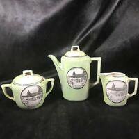 Vintage Green Porcelain Tea Pot Sugar Creamer Washing DC Made in Germany