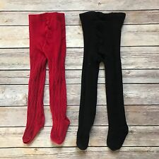 Lot of 2 Two Pairs of Baby Girl Tights Red Black 12-24M 18-24M Cable Knit B14