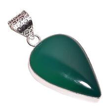 PLATA DE LEY Capa hecho a mano verde Calcedonia Colgante nlg-639 chapado en