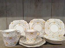 Vintage Melba Bone China Tea Wares One Trio & Plates hand-painted Yellow Flowers