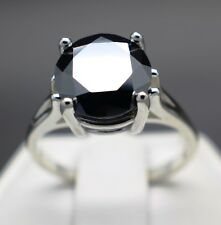 4.22cts 10.80mm Real Natural Black Diamond Ring AAA Grade & $2310 Value""""