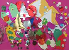 Childrens Xmas craft pack. Cards/envelopes+Tags+Xmas trees+decorations+glitter !