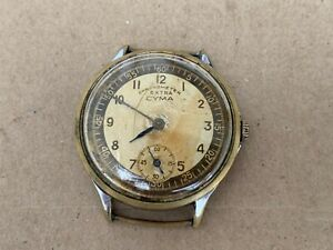 CYMA SWISS MADE WATCH WORKS MEN'S CAL.REF .776 MILITARY 15 jewels 42mm