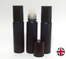 10ML EMPTY FROSTED GLASS ROLL ON BOTTLE LIQUIDS ESSENTIAL  PERFUME OIL BLACK CAP
