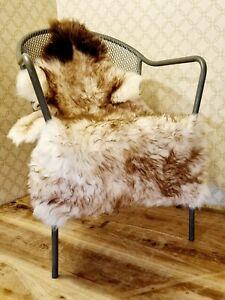 XXXL British Cream and Brown Wolftip Sheepskin Rug - 115cm by 65cm A++ (4040)