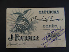 Carte de visite Visit card CDV TAPIOCA CHOCOLAT CAFé CHICORée FOURNIER PARIS