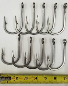 Mustad 7732 Big Game Southern Tuna StainS Steel Forged Shrt Barb Hook 10/0 10 Pk