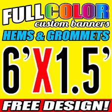 Full custom Vinyl Banner 1829 x 450 MM with free design and HEM and Grommets