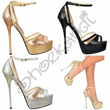 Womens Strappy Peep Toe Glitter Stiletto High Heel Party Shoes Gold Silver Black
