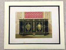 1862 Imprimé Victorien Incrusté Ébène Armoire Meuble Antique Chromolithographie