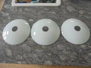 Three Vintage MCM White Opaque Glass Saucer Pendant Light Shades (C/V).