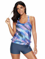Womens Swimsuit Tankini with Board Swim Shorts swimwear Big Size 4X Cross Straps