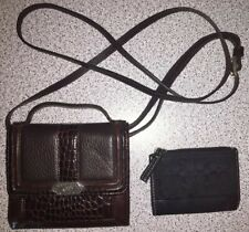 COACH CARD HOLDER+BRIGHTON BROWN LEATHER CROSSBODY WALLET PURSE HANDLE STRAP EUC