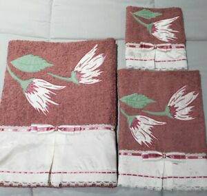 Embroidered Cotton Towel Set 3Pcs dusty rose New