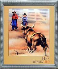 Western Rodeo Cowboy Bull Clown Wall Decor Silver Framed Picture Art Print 20x24